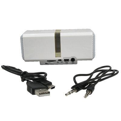 Mini-Altavoz MP3 Recargable Potente Portátil Viaje Música Jugador 3.5mm Blanco