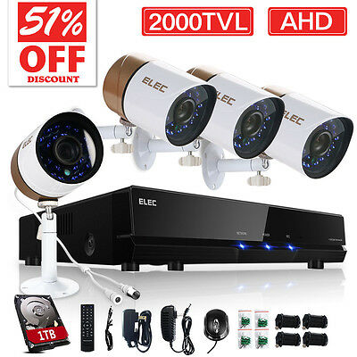 ELEC® Home Outdoor Security Camera System 1TB HDD 2000TVL 8CH 720P AHD CCTV DVR