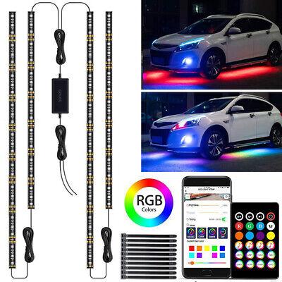 RGB LED Strip Under Car Tube Underglow Lights Kit + APP Bluetooth Remote Control