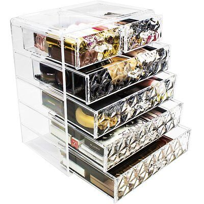 Sorbus Makeup Storage Organizer - 4 Large and 2 Small Drawers, Diamond Pattern