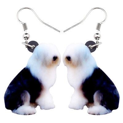 Acrylic Elegant Sitting Old English Sheepdog Dog Earrings Jewelry For Women Girl Old English Sheepdog Earrings