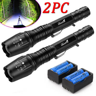 2 x Ultrafire 150000Lumens 5 Modes T6 LED Flashlight Torch 18650 Battery+Charger