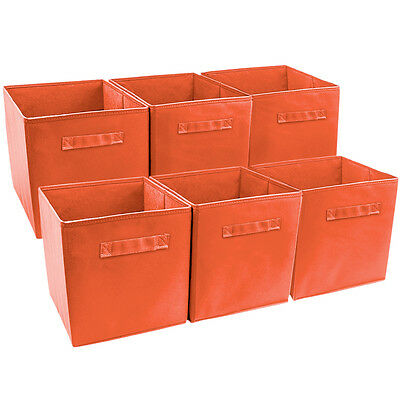 Sorbus Foldable Storage Cube Basket Bin (6 Pack, Orange) - Storage Cube Baskets
