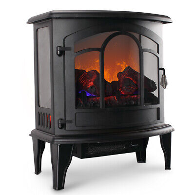 Electric Fireplace Tempered Glass Adjustable 1400W Heater Fl