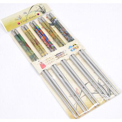 Korean Vacuum Stainless Steel Chopsticks 5Pairs Korea Traditional Folk Painting