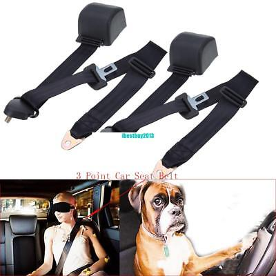 2x 3m Black Universal Retractable Seat Belt 3 Point Auto Car Lap Adjustable Belt