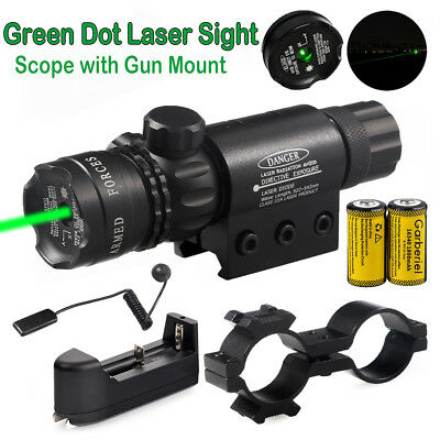 Tactical Hunting Rifle Green Laser Sight Dot Scope With Batterycharge W Mounts