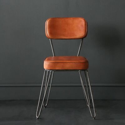 Hairpin Industrial Dining Chair, Buffalo Leather Upholstered Seat and Back
