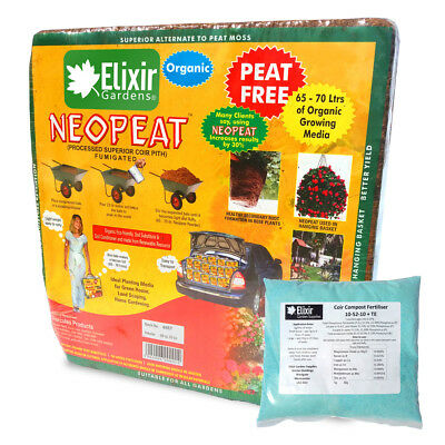 Coir Compost Blocks | 70 Litre x 10 with Fertiliser | Makes up to 700 Litres