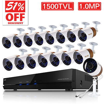 ELEC 16CH 960H HDMI DVR 1500TVL Home Video Outdoor CCTV Security Camera Systems
