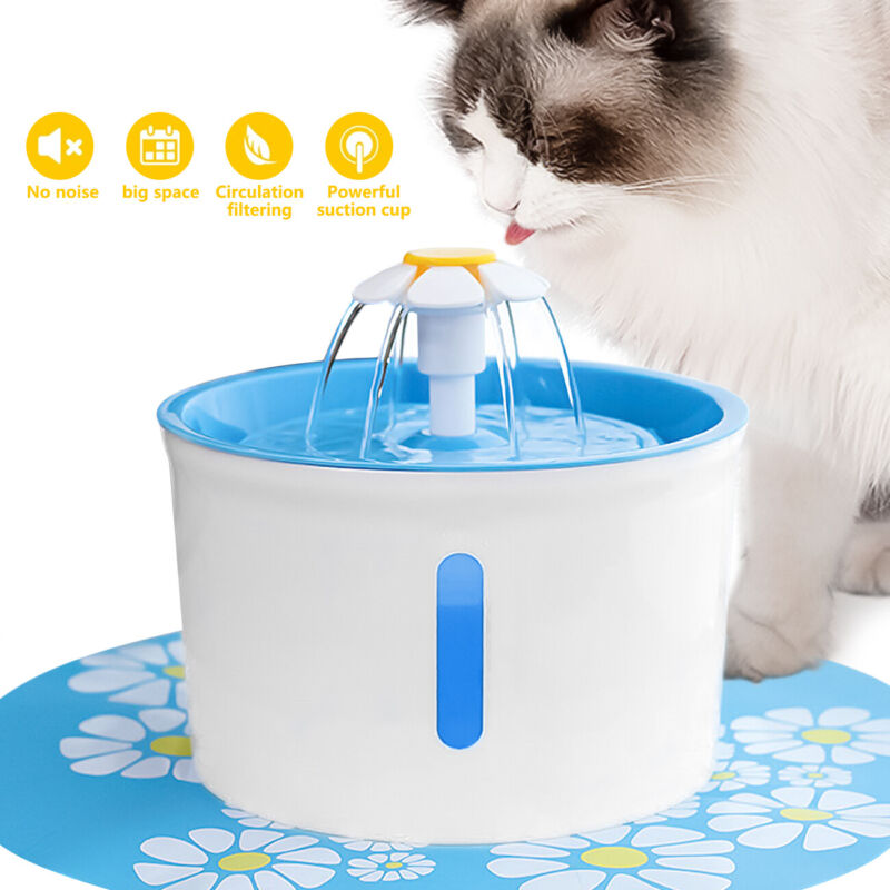 2.6L Pet Fountain Cat Dog Feeder Mute Filters Dispenser Electric Water Drinker