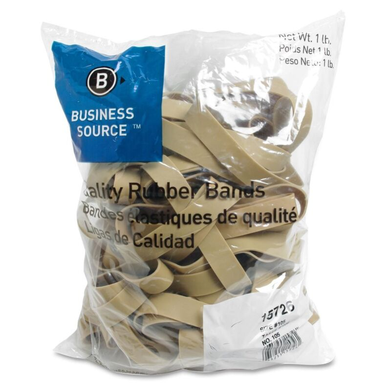 """Business Source 15726 Rubber Bands, Size 105, 1 lb Bag, 5 x 5/8"""" (BSN15726)"""