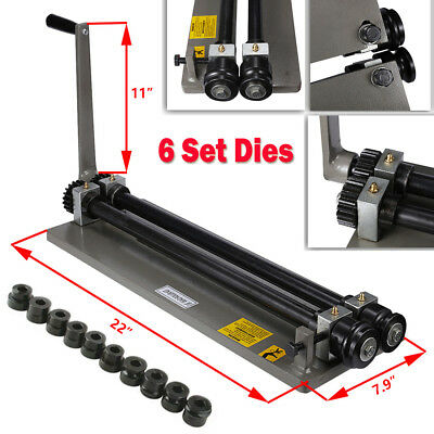 Sheet Metal Bead Roller Machine Steel Gear Drive Bench Mount 18-gauge W 6 Dies
