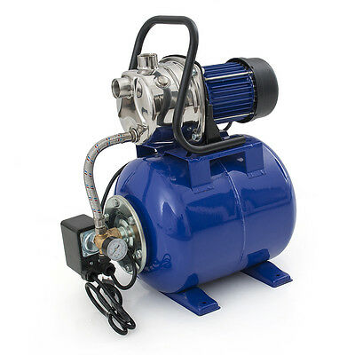 "1.6 HP 1"" Shallow Well Electric Garden Pump w/ Booster System & Steel Tank, Blue"
