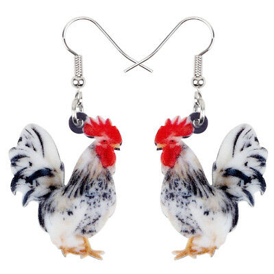 Acrylic Floral Rooster Chicken Earrings Drop Farm Animal Jewelry For Women Gifts