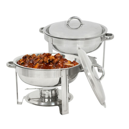 2 Pack Buffet Catering Stainless Steel Chafer Round Chafing Dish 5Qt Party Pack Business & Industrial