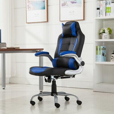 Executive Racing Gaming Chair High Back Reclining Pu Leather Chair Blueblack