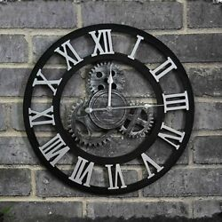 Large Vintage Wooden Wall Clock Round Rustic Roman Numeral Outdoor Garden Decor