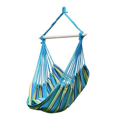 Outdoor Aqua Cotton Solid Swing Hammock Hanging Rope Chair Yard Patio Tree