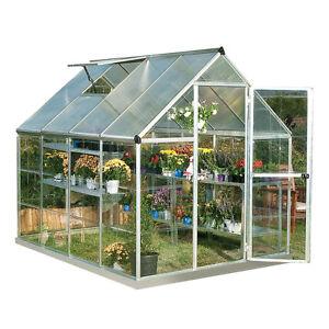 Palram 6u0027 X 8u0027 Hybrid Greenhouse Kit   Silver (model HG5508)