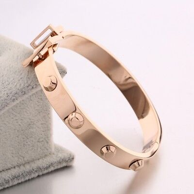 Fashion Vintage Women Rose Gold Stainless Steel Bangle Wristband Cuff -