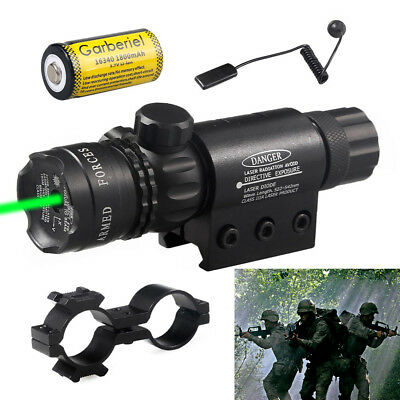 Tactical Hunting 532NM Green Laser Sight Dot Gun Rail Scope Remote 16340 Battery
