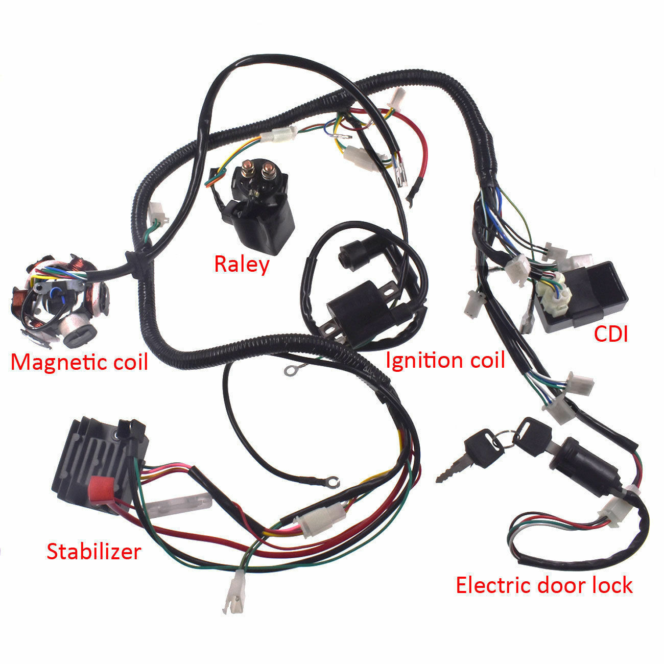 Full Electrics Wiring Harness Cdi Coil Solenoid Gy6 150cc Atv Quad Go Kart Buggy
