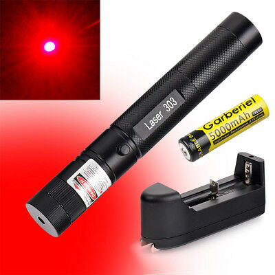 New 10Miles 303 Red Lazer Pointer Pen 650nm Visible Beam Light +Battery +Charger