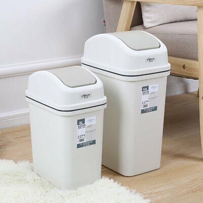 Swing Top Lid Trash Can Wastebasket Garbage Can Rubbish Bin Kitchen Bathroom