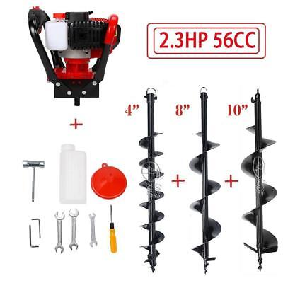 """56CC Gas Power Earth Auger Power Engine Post Hole Digger 4"""" 6"""" 8"""" 10"""" 12"""" Drill"""