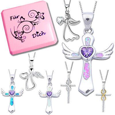 Kreuz Engel Herz Kette 925 Echt Silber Halskette mit Anhänger für Kinder Mädchen ()