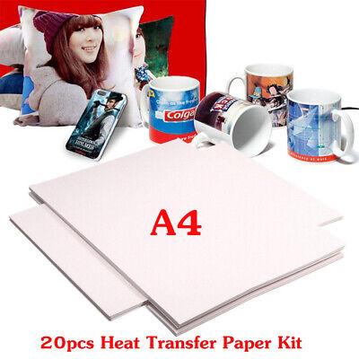 20pcs Heat Transfer Paper Kit Iron On T-shirt Light Fabric A4 For Inkjet Printer