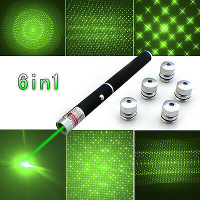 Military Powerful 6in1 5mW Green Laser Pointer Pen Beam Light Lazer+Star Caps