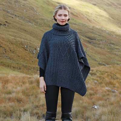 Irish Wool Cape - Cowl Neck - Gray, Merino Wool, Imported from Ireland A453-070