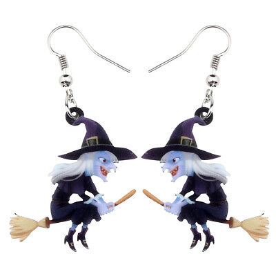 Acrylic Halloween Broomstick Witch Earrings Dangle Party Jewelry For Women Gifts - Halloween Earrings
