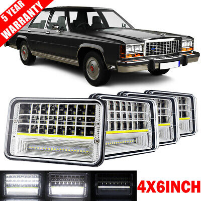 """4X 4x6"""" inch 135W LED Headlights High-Low DRL Sealed Beam for Ford 1980-1991 LTD"""