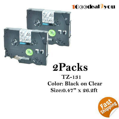 2 Pk Tz-131 Tze-131 Compatible For Brother Black On Clear P-touch Label Tape