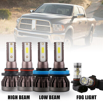6x LED Headlight + Fog Lights 6000K for Dodge Ram 1500 2500 3500 4500 5500 09-17