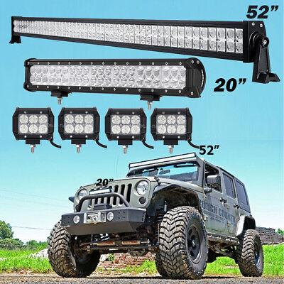 Jk ledebay 7 52inch 700w led light bar combo 20 4 pods fit jeep wrangler mozeypictures Images