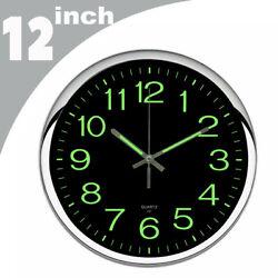 12inch Wall Clock Modern Luminous Quartz Glow In The Dark Night Light Silent US