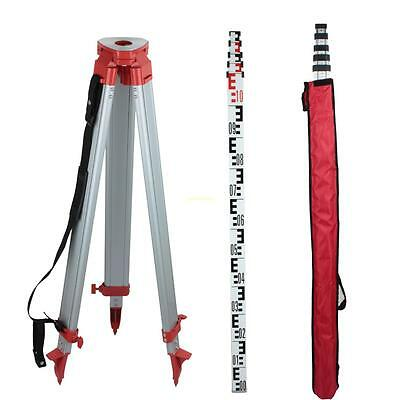1.65m Aluminum Tripod 5m Staff For Auto Rotary Laser Level Surveying Transits