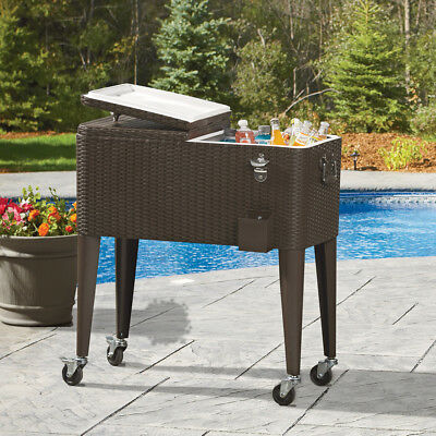 Outdoor Rattan 80QT Party Portable Rolling Cooler Cart Ice B