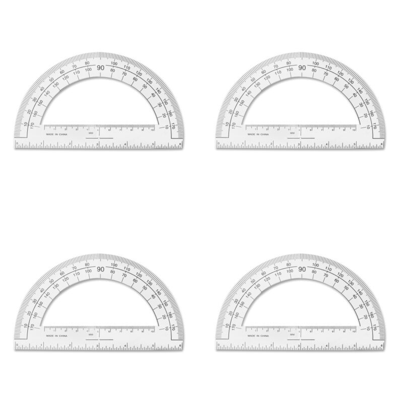 Sparco Plastic Protractor 6-Inch Long Clear (SPR01490) 4 Packs