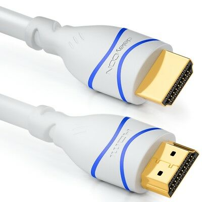 deleyCON 10m HDMI Kabel HDMI 2.0 kompatibel 4K UHD 2160p FULL HD 1080p 3D weiß