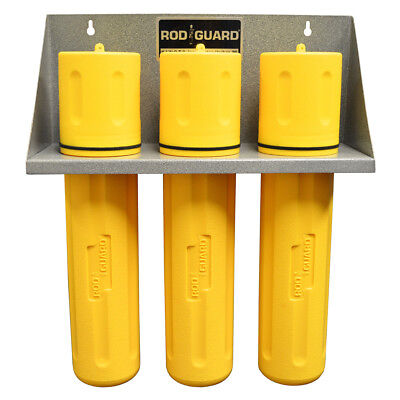 Storage Rack With 3 Ea - 14 Yellow Welding Electrode Rod Guard Canister