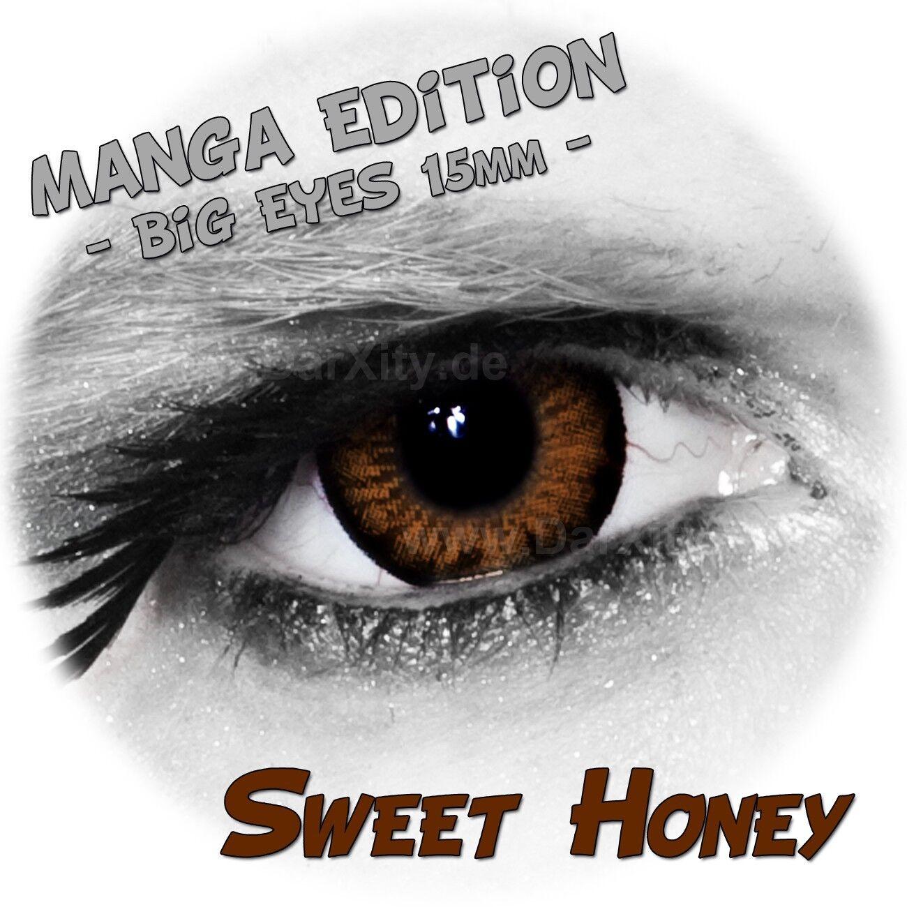 braune Manga Linsen, Big Eyes, Sweet Honey farbige Kontaktlinsen ohne Stärke