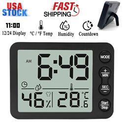 Electronic Digital Alarm Clock °C/°F Temperature Humidity Display Home Kitchen