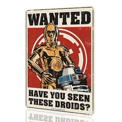WALL SIGN Star Wars WANTED Have You Seen These Droids Poster Wall Art Decor Home
