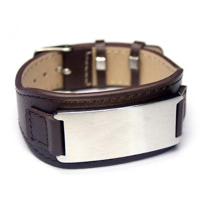 "Leder - Armband mit "" Gravurplatte ""- Wunschgravur individuelle Gravur NEU LA-BR"