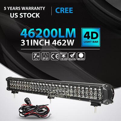 "4D CREE 31""INCH 462W LED LIGHT BAR COMBO OFFROAD 4WD CAR TRUCK VAN 30"" 32"" 33"""